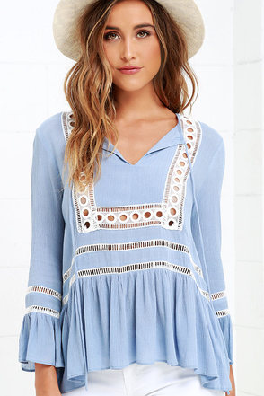 Freelance Favorite Light Blue Embroidered Top at Lulus.com!
