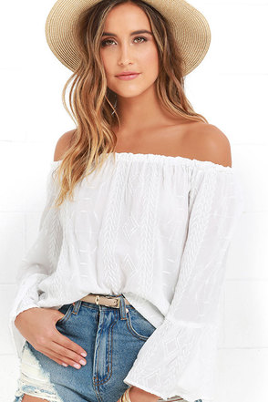Looking Forward Ivory Off-the-Shoulder Embroidered Top at Lulus.com!
