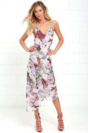 Keepsake One Life Blush Floral Print High-Low Dress at Lulus.com!
