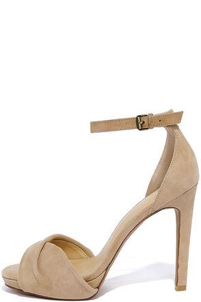 Joe's Jeans Vaughn Latte Suede Leather Ankle Strap Heels at Lulus.com!