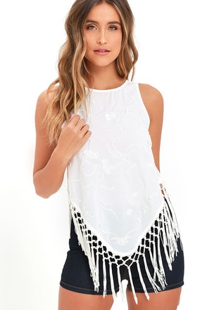 Ticket Line Ivory Embroidered Fringe Top at Lulus.com!