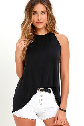 Gift of Gab Washed Black Sleeveless Top at Lulus.com!