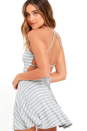 In Formation Heather Grey Striped Lace-Up Dress at Lulus.com!