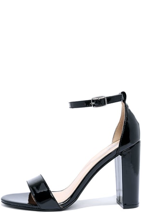 All Dressed Up Black Patent Ankle Strap Heels at Lulus.com!