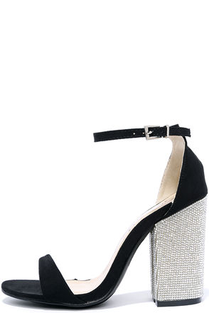 You Can Dance Black Suede Rhinestone Heels at Lulus.com!
