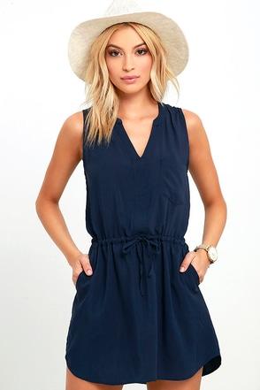 Ocean View Avenue Navy Blue Sleeveless Dress at Lulus.com!