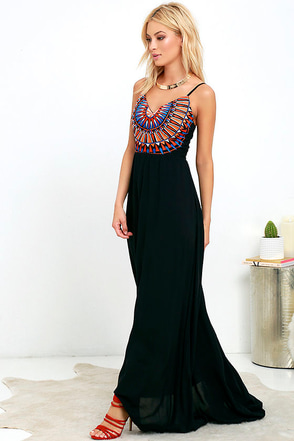 Solar Flair Embroidered Black Maxi Dress at Lulus.com!