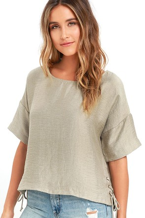 Afternoon Retreat Khaki Lace-Up Top at Lulus.com!