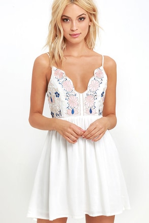 Daisy Petal Pickin' Ivory Embroidered Dress at Lulus.com!