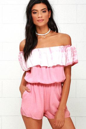All Aboard Blush Pink Tie-Dye Off-the-Shoulder Romper at Lulus.com!