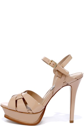 Steve Madden Kananda Blush Patent Leather Platform Heels at Lulus.com!