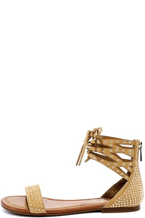 Jessica Simpson Kaduna Honey Brown Studded Sandals at Lulus.com!