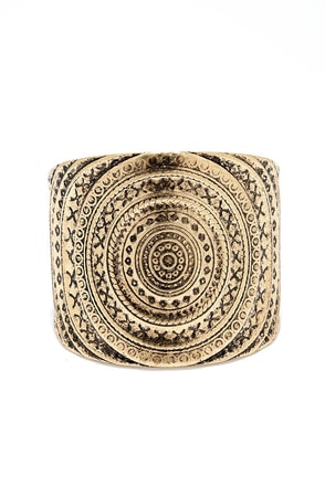 Aztec Empire Gold Cuff Bracelet at Lulus.com!