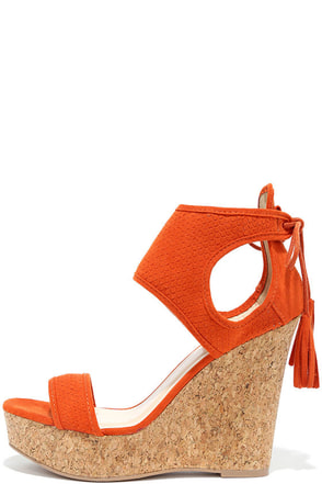 Newfangled Burnt Orange Suede Wedge Sandals at Lulus.com!