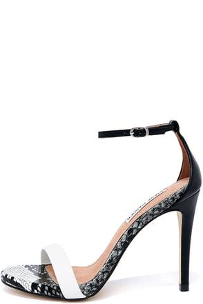 Steve Madden Stecy White Multi Snakeskin Ankle Strap Heels at Lulus.com!