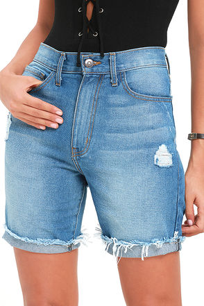 Crowd Control Medium Wash Distressed Bermuda Shorts at Lulus.com!