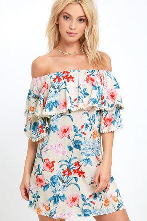Floral I Know Navy Blue Floral Print Off-the-Shoulder Dress at Lulus.com!
