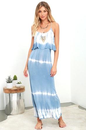 Always Artsy Grey Blue Tie-Dye Maxi Dress at Lulus.com!