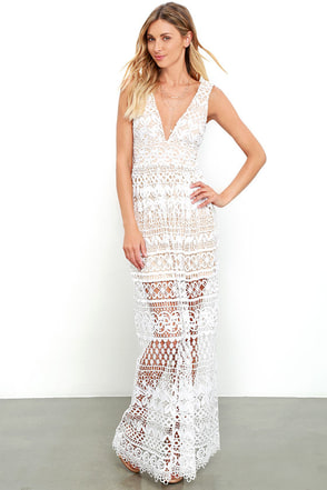 Just Magic Ivory Lace Maxi Dress at Lulus.com!
