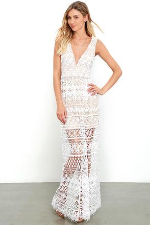 Just Magic Ivory Lace Maxi Dress at Lulus.com!