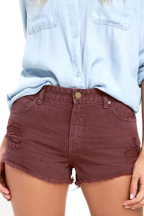 Billabong Highway Washed Marsala Red Distressed Denim Shorts at Lulus.com!