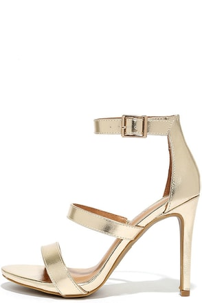 Buzz-Worthy Gold Dress Sandals at Lulus.com!
