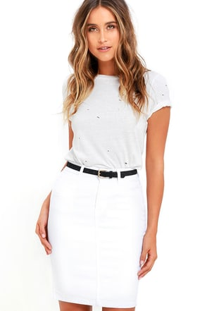 Rocka-billie Jean White Denim Pencil Skirt at Lulus.com!