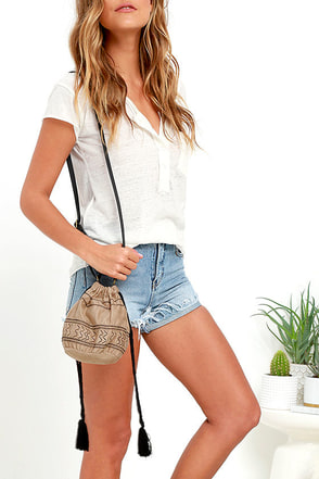 Hand-in-Hand Tan Embroidered Mini Bucket Bag at Lulus.com!