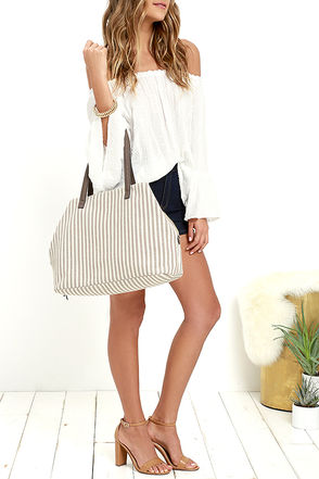 River Trip Taupe Striped Tote at Lulus.com!