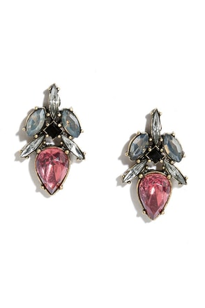 Precious Pebble Pink Rhinestone Earrings at Lulus.com!