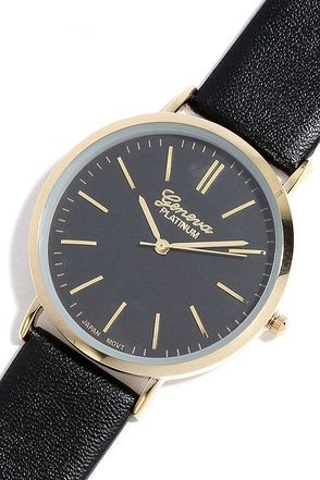 Point in Time Gold and Black Watch at Lulus.com!