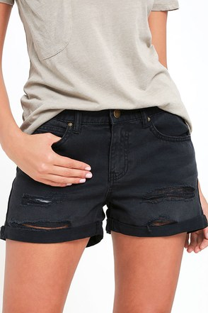 Billabong Frankie Washed Black Distressed Denim Shorts at Lulus.com!