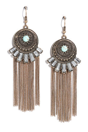 Spirit Ritual Gold and Turquoise Earrings at Lulus.com!