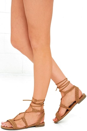 Floating on Air Tan Nubuck Lace-Up Sandals at Lulus.com!