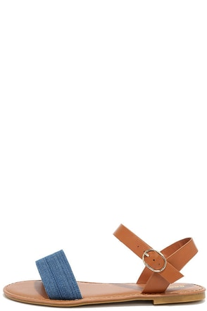 Gal Pal Denim and Tan Flat Sandals at Lulus.com!