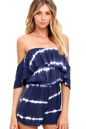 Maui Mountains Indigo Blue Tie-Dye Off-the-Shoulder Romper at Lulus.com!