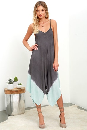 Beach Bungalow Charcoal Grey Dip-Dye Midi Dress at Lulus.com!