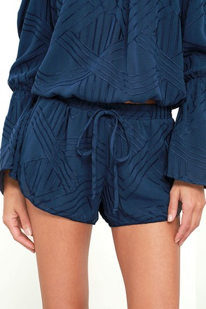 Dancing in the Flowers Navy Blue Embroidered Shorts at Lulus.com!