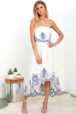 Honored Tradition Ivory Strapless High-Low Dress at Lulus.com!