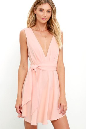 Finders Keepers Collide Peach Skater Dress at Lulus.com!