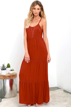 Beck and Call Rust Red Maxi Dress at Lulus.com!
