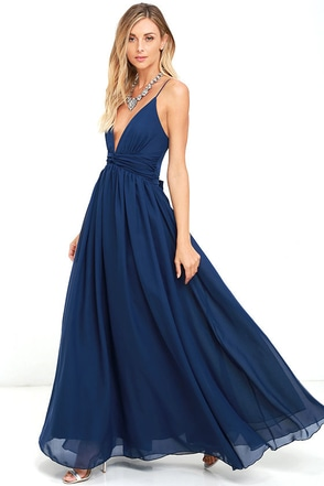 Lovely navy blue dress maxi dress bridesmaid dress for Navy blue maxi dress for wedding