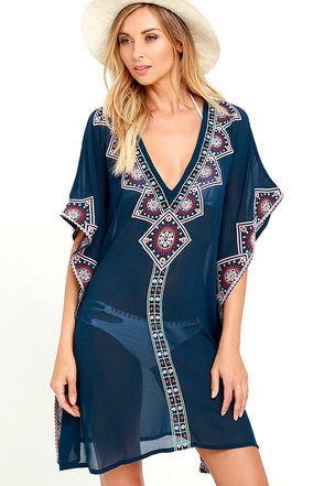 Canal Cruise Navy Blue Embroidered Kaftan Cover-Up at Lulus.com!