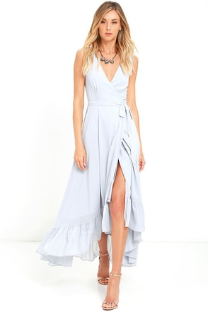 Forever Mine Light Grey High-Low Wrap Dress at Lulus.com!