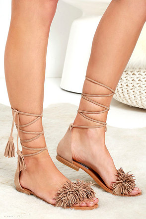 Steve Madden Sweetyy Blush Suede Leather Lace-Up Sandals at Lulus.com!