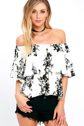 Heron Heights Black and Cream Print Off-the-Shoulder Top 1