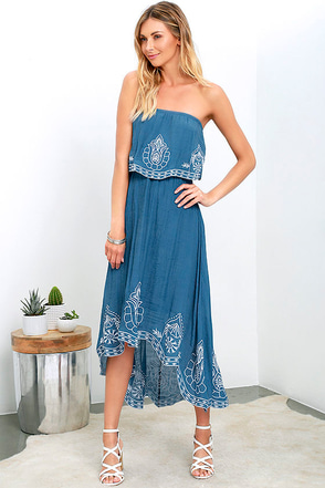 Honored Tradition Denim Blue Strapless High-Low Dress at Lulus.com!