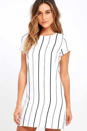 So Perfect Ivory Striped Shift Dress at Lulus.com!