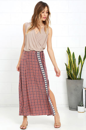Fond of Festivals Orange Print Midi Skirt at Lulus.com!