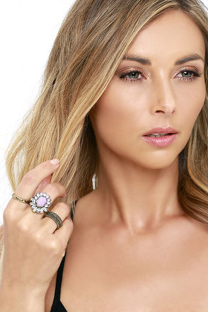 Worth Mentioning Gold and Lavender Ring Set at Lulus.com!